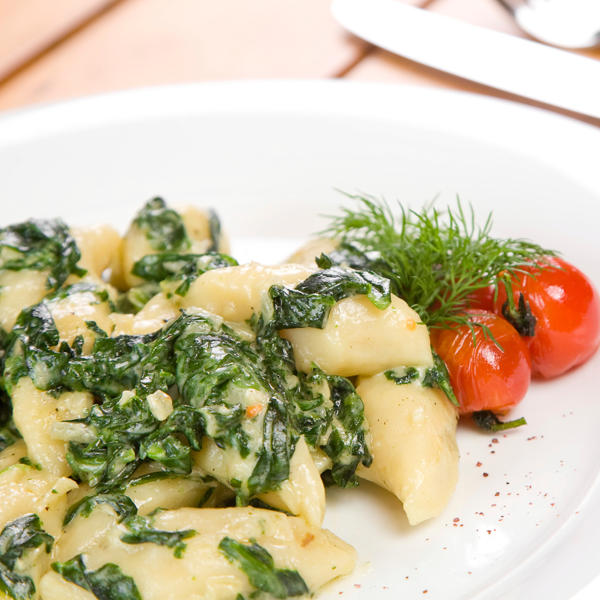 Potato Gnocchi with a puree of  Stinging Nettles, Spinach & Herbs