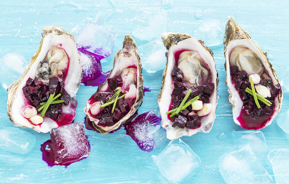 Fresh Oysters with Beet Chilli Salsa