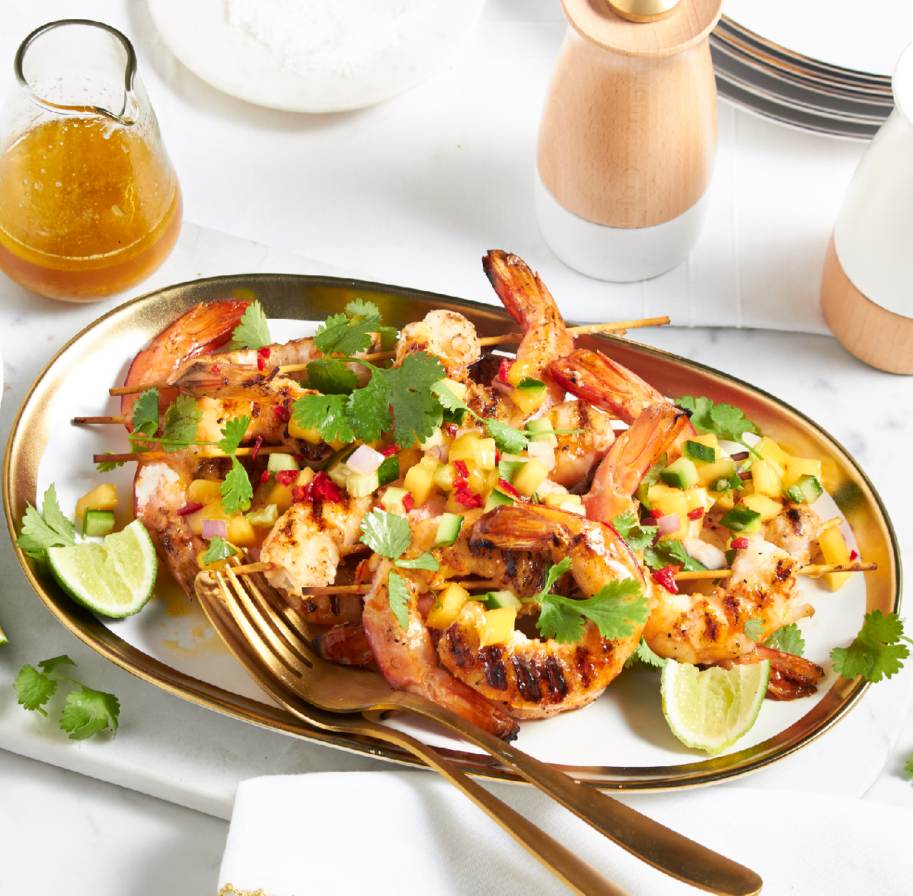 Easter Recipe: BBQ grilled prawns with mango salsa