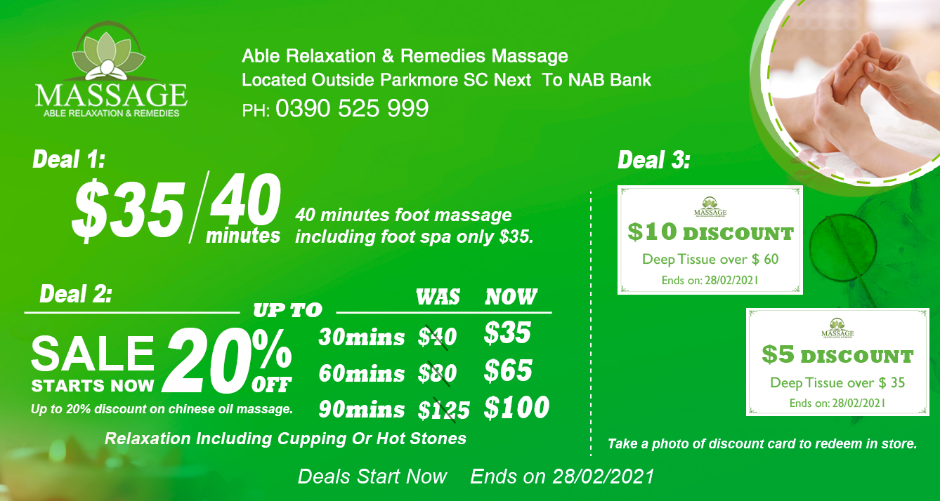 Up to 20% discount on all Chinese relaxation Oil Massage.
